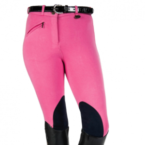Reithose Farbe: pink, Kniebesatz