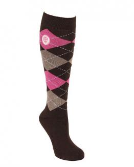 Reiterstrümpfe, Socken, Reitersocken, dunkelbraun, rosa, ocker, Frottee verstärkt im Fuss, strapazierfähig