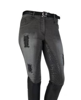 REITHOSE -HARD USED- SILIKON VOLLBESATZ, Jeans, Jeansreithose, Silikon Vollbesatz